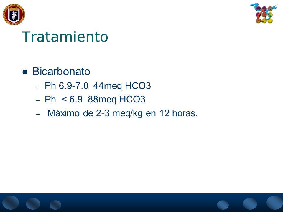 Tratamiento Bicarbonato Ph 6.9-7.0 44meq HCO3 Ph < 6.9 88meq HCO3