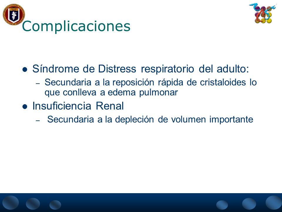 Complicaciones Síndrome de Distress respiratorio del adulto: