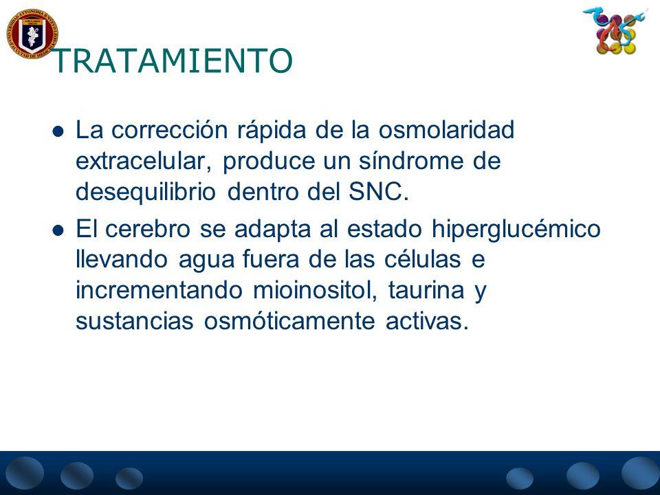 TRATAMIENTO La corrección rápida de la osmolaridad extracelular, produce un síndrome de desequilibrio dentro del SNC.