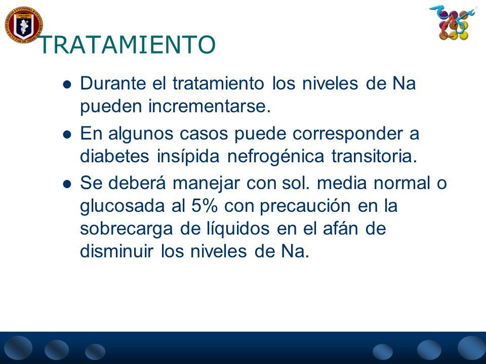 TRATAMIENTO Durante el tratamiento los niveles de Na pueden incrementarse.