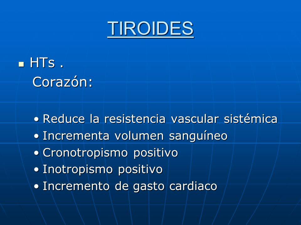 TIROIDES HTs . Corazón: Reduce la resistencia vascular sistémica