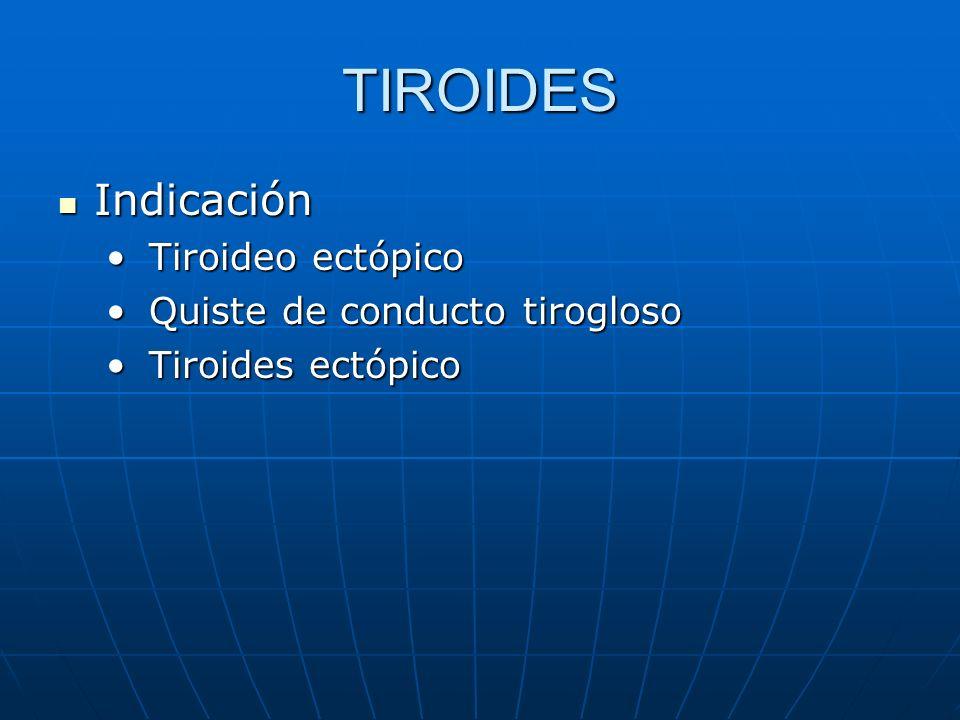 TIROIDES Indicación Tiroideo ectópico Quiste de conducto tirogloso
