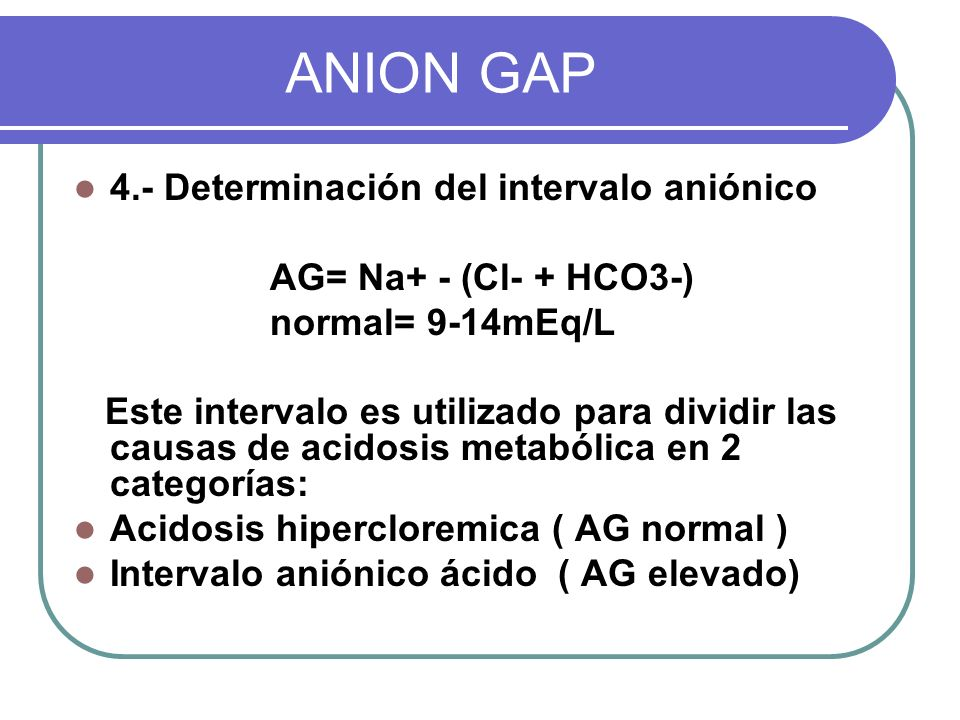 ANION GAP 4.- Determinación del intervalo aniónico