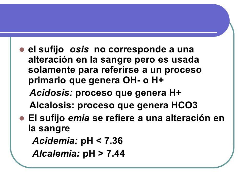 el sufijo osis no corresponde a una alteración en la sangre pero es usada solamente para referirse a un proceso primario que genera OH- o H+