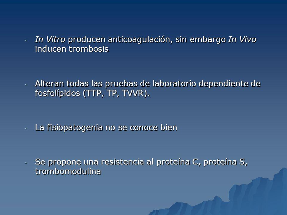 In Vitro producen anticoagulación, sin embargo In Vivo inducen trombosis