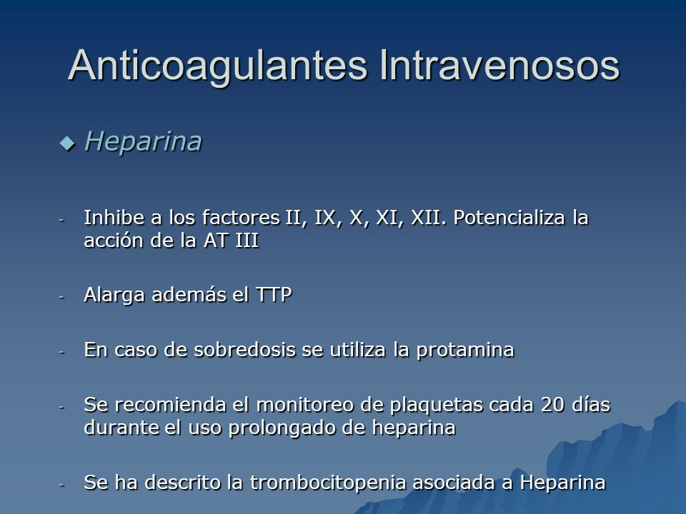 Anticoagulantes Intravenosos