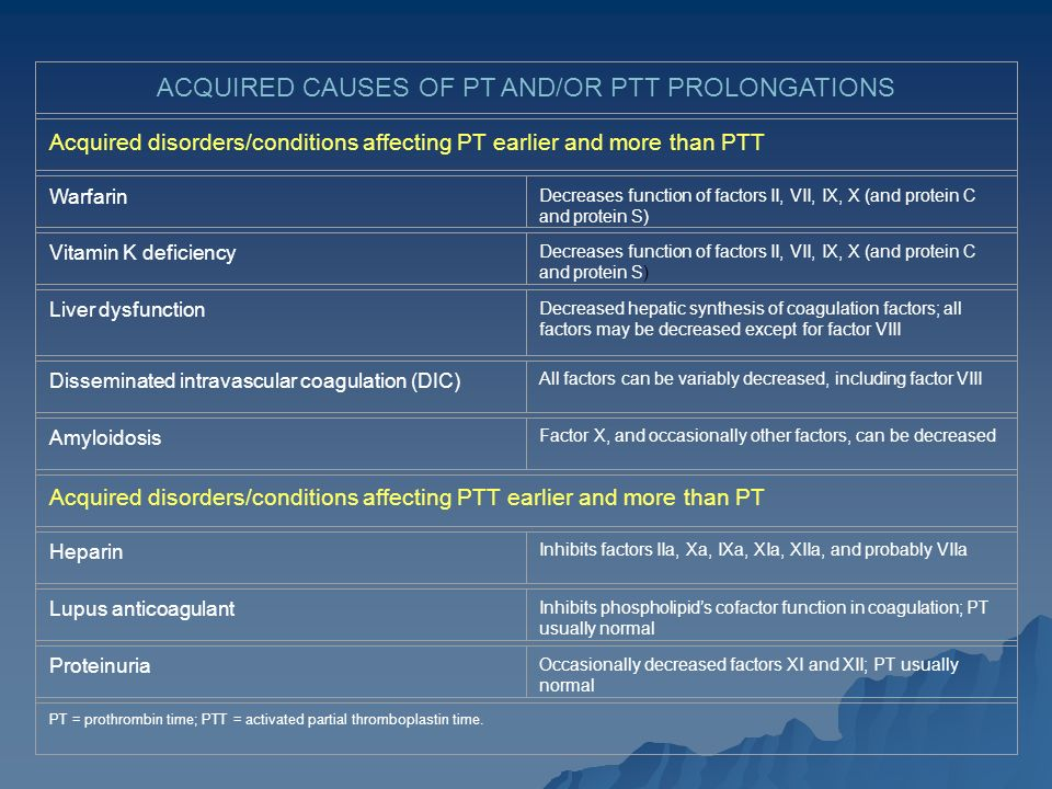 ACQUIRED CAUSES OF PT AND/OR PTT PROLONGATIONS