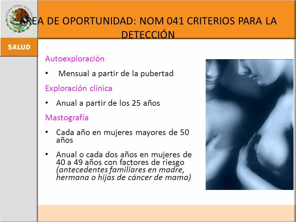 AREA DE OPORTUNIDAD: NOM 041 CRITERIOS PARA LA DETECCIÓN