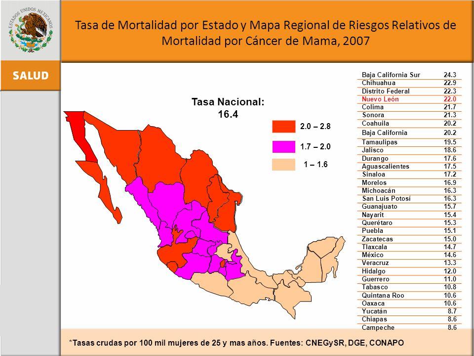 Tasa de Mortalidad por Estado y Mapa Regional de Riesgos Relativos de Mortalidad por Cáncer de Mama, 2007