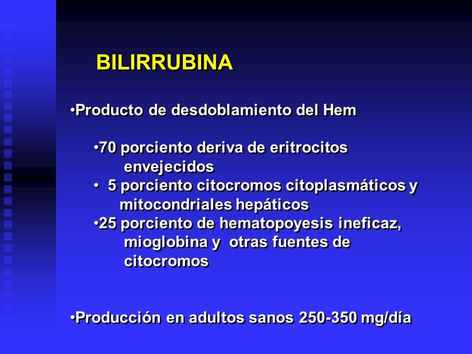 BILIRRUBINA Producto de desdoblamiento del Hem. 70 porciento deriva de eritrocitos. envejecidos. 5 porciento citocromos citoplasmáticos y.
