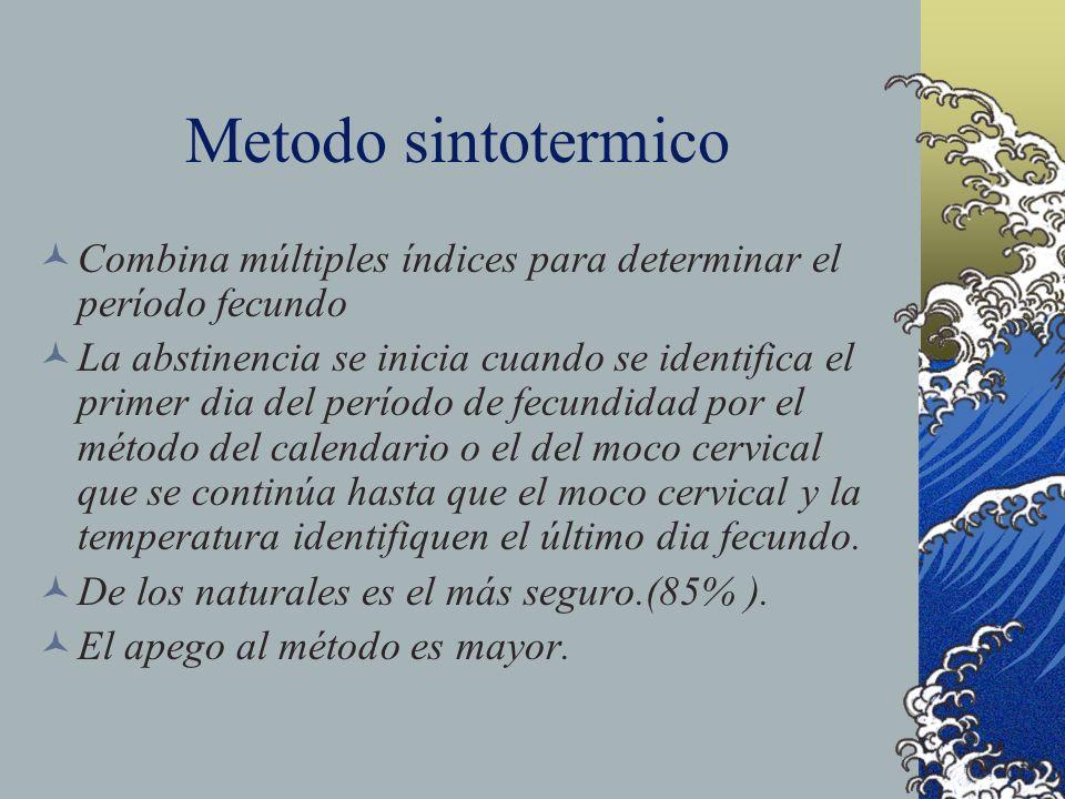 Metodo sintotermico Combina múltiples índices para determinar el período fecundo.