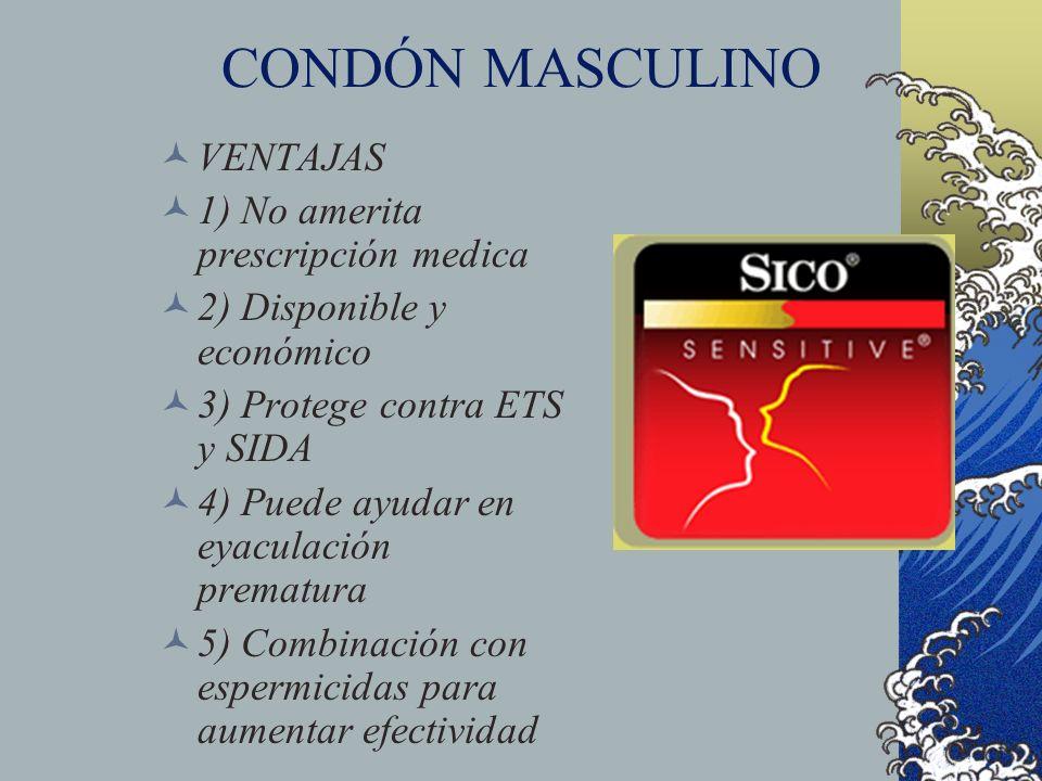 CONDÓN MASCULINO VENTAJAS 1) No amerita prescripción medica