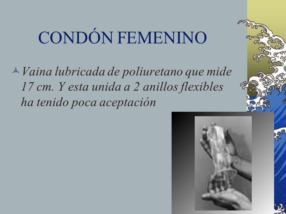 CONDÓN FEMENINOVaina lubricada de poliuretano que mide 17 cm.