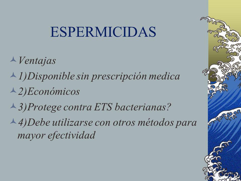 ESPERMICIDAS Ventajas 1)Disponible sin prescripción medica
