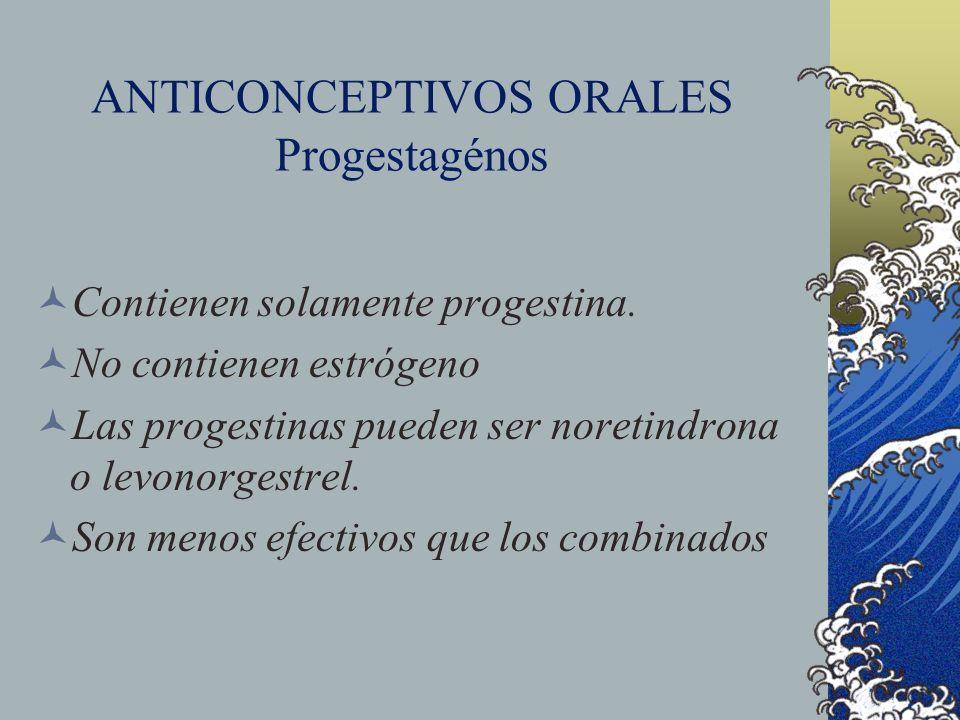 ANTICONCEPTIVOS ORALES Progestagénos