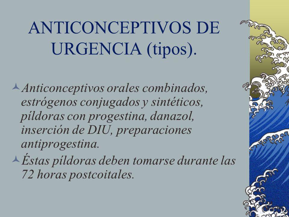 ANTICONCEPTIVOS DE URGENCIA (tipos).