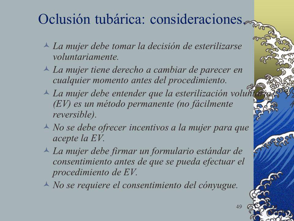 Oclusión tubárica: consideraciones.