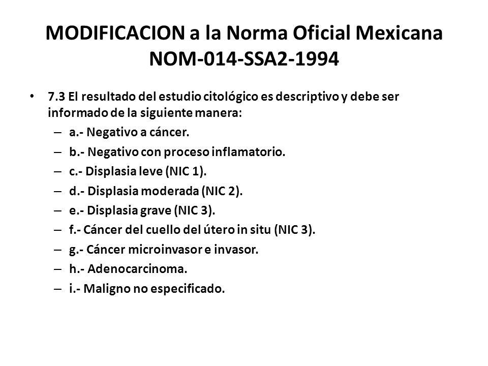 MODIFICACION a la Norma Oficial Mexicana NOM-014-SSA2-1994