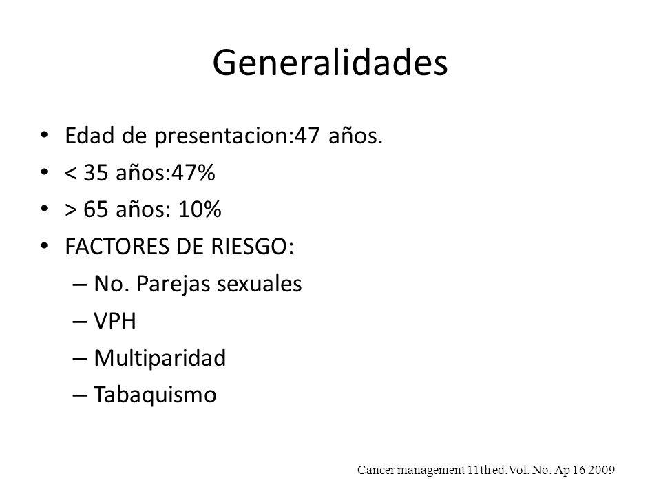 Generalidades Edad de presentacion:47 años. < 35 años:47%
