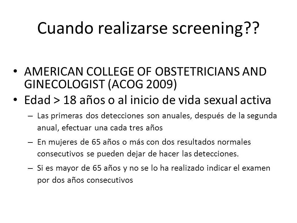 Cuando realizarse screening