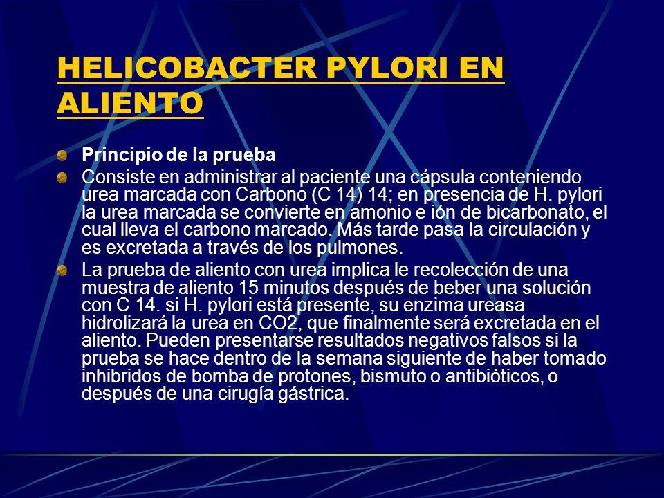 HELICOBACTER PYLORI EN ALIENTO