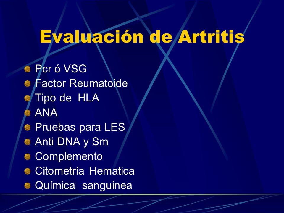 Evaluación de Artritis
