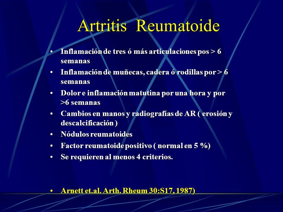 Artritis Reumatoide Inflamación de tres ó más articulaciones pos > 6 semanas. Inflamación de muñecas, cadera ó rodillas por > 6 semanas.