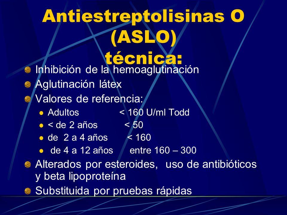 Antiestreptolisinas O (ASLO) técnica: