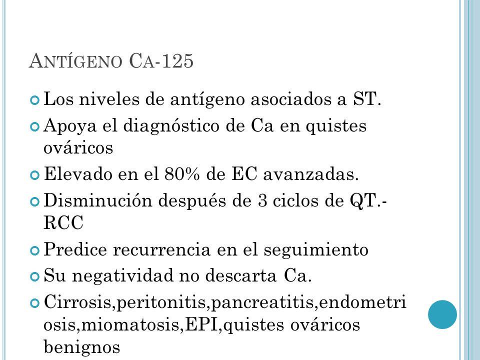 Antígeno Ca-125 Los niveles de antígeno asociados a ST.