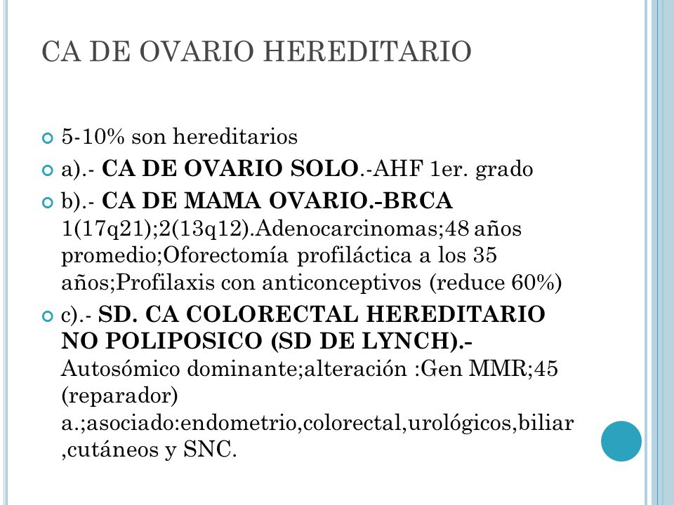 CA DE OVARIO HEREDITARIO