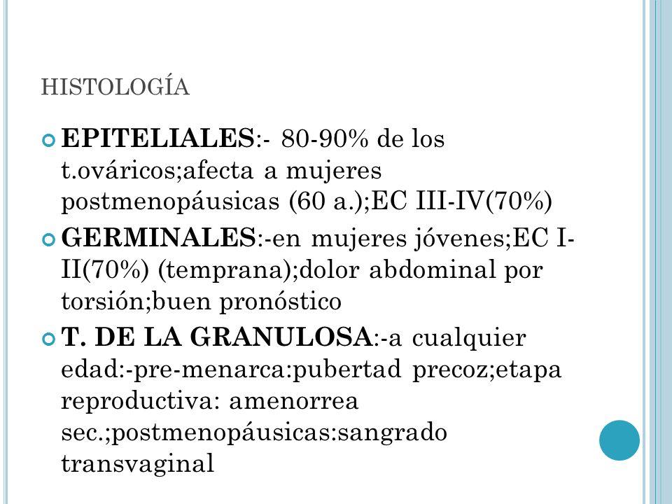 histología EPITELIALES:- 80-90% de los t.ováricos;afecta a mujeres postmenopáusicas (60 a.);EC III-IV(70%)