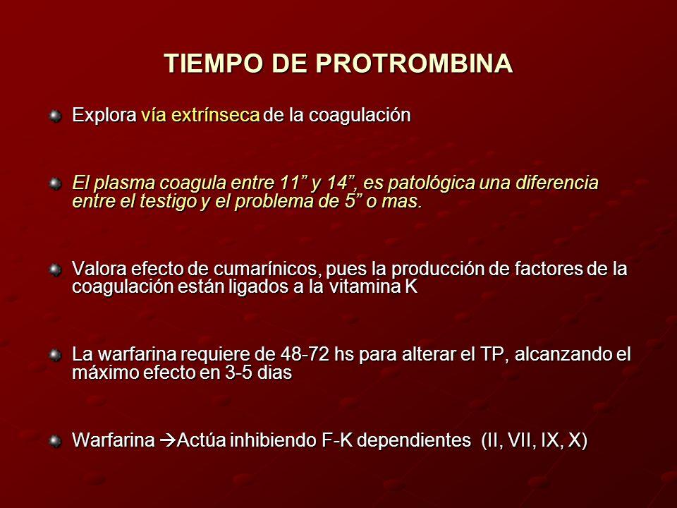 TIEMPO DE PROTROMBINA Explora vía extrínseca de la coagulación