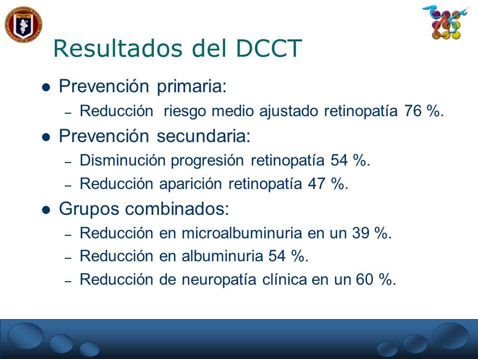 Resultados del DCCT Prevención primaria: Prevención secundaria:
