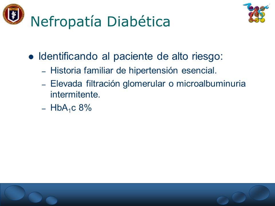 Nefropatía Diabética Identificando al paciente de alto riesgo: