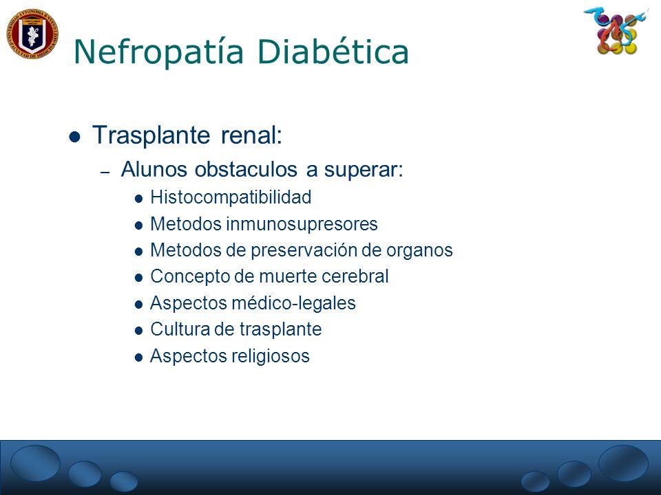 Nefropatía Diabética Trasplante renal: Alunos obstaculos a superar: