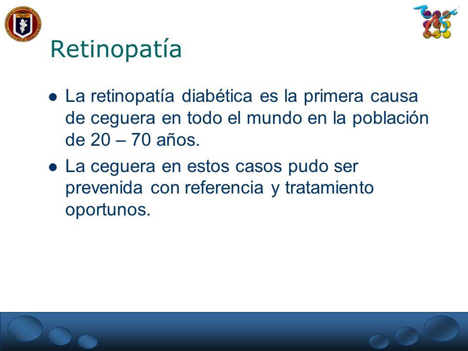 Retinopatía La retinopatía diabética es la primera causa de ceguera en todo el mundo en la población de 20 – 70 años.