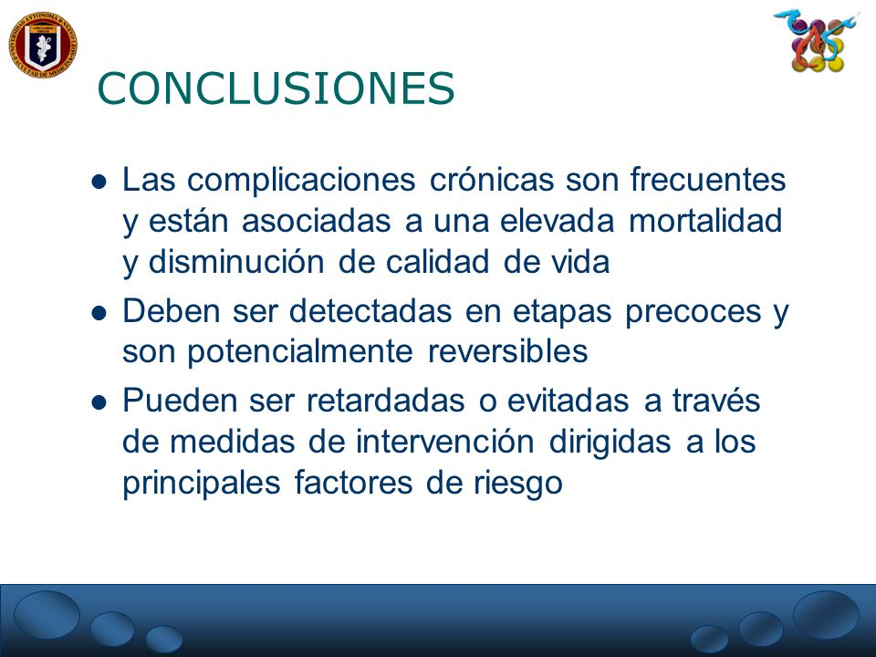 CONCLUSIONESLas complicaciones crónicas son frecuentes y están asociadas a una elevada mortalidad y disminución de calidad de vida.