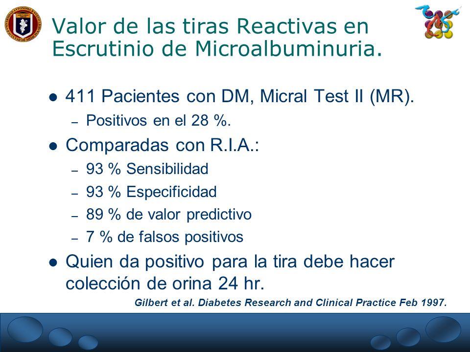 Valor de las tiras Reactivas en Escrutinio de Microalbuminuria.