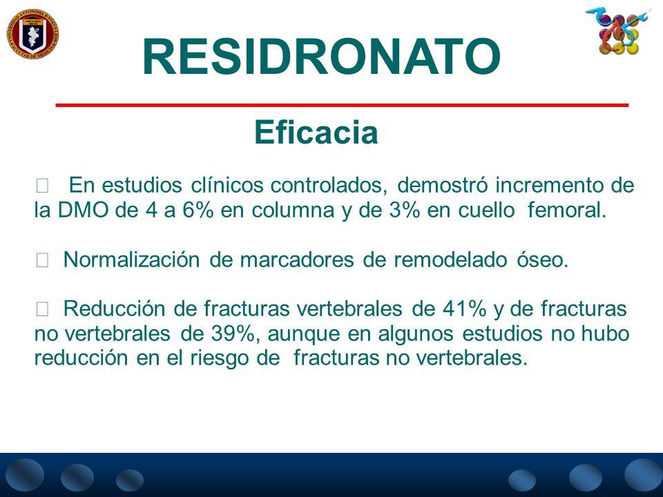 RESIDRONATO Eficacia. En estudios clínicos controlados, demostró incremento de la DMO de 4 a 6% en columna y de 3% en cuello femoral.
