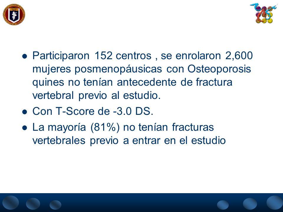 Participaron 152 centros , se enrolaron 2,600 mujeres posmenopáusicas con Osteoporosis quines no tenían antecedente de fractura vertebral previo al estudio.