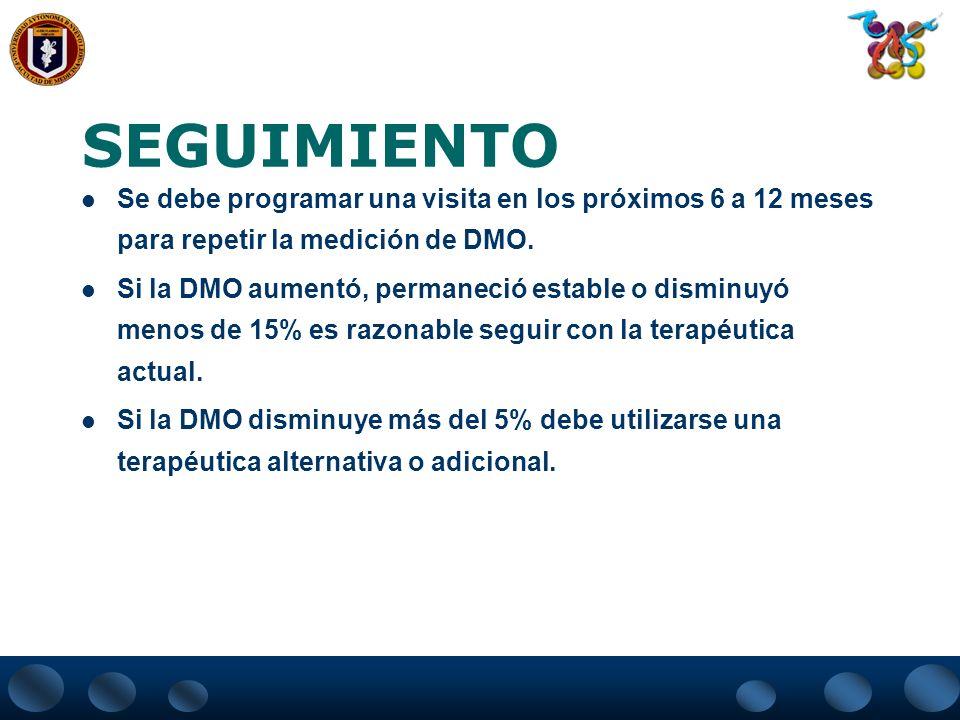 SEGUIMIENTO Se debe programar una visita en los próximos 6 a 12 meses para repetir la medición de DMO.