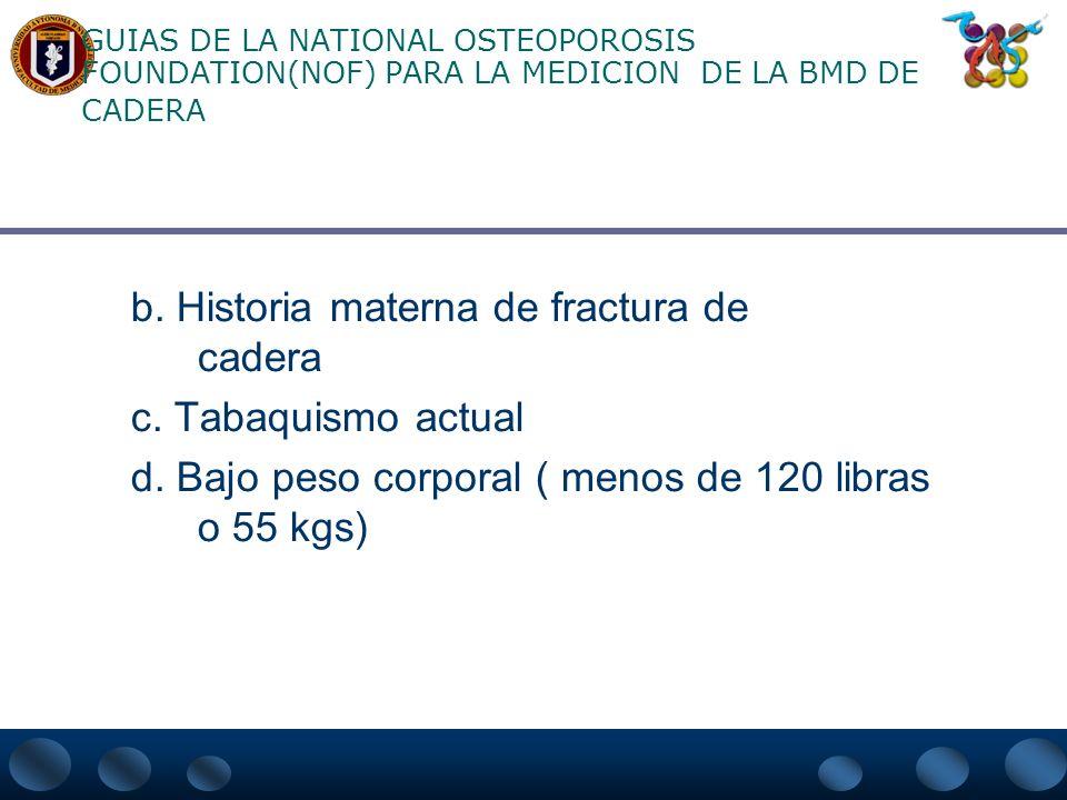 b. Historia materna de fractura de cadera c. Tabaquismo actual