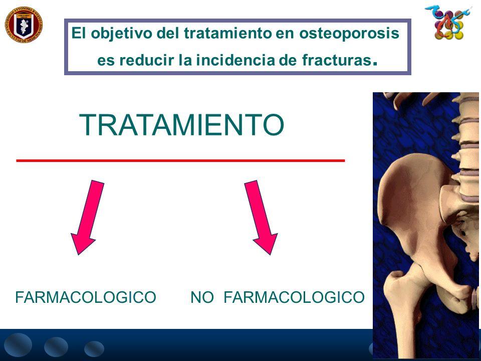 TRATAMIENTO El objetivo del tratamiento en osteoporosis