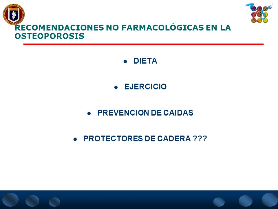 RECOMENDACIONES NO FARMACOLÓGICAS EN LA OSTEOPOROSIS