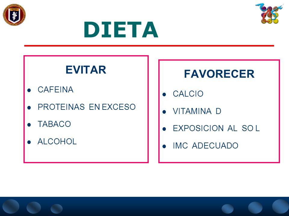 DIETA EVITAR FAVORECER CAFEINA CALCIO PROTEINAS EN EXCESO VITAMINA D