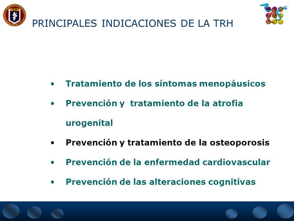 PRINCIPALES INDICACIONES DE LA TRH