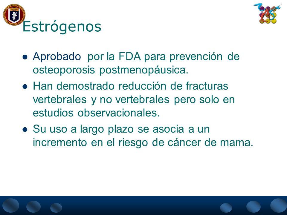 Estrógenos Aprobado por la FDA para prevención de osteoporosis postmenopáusica.