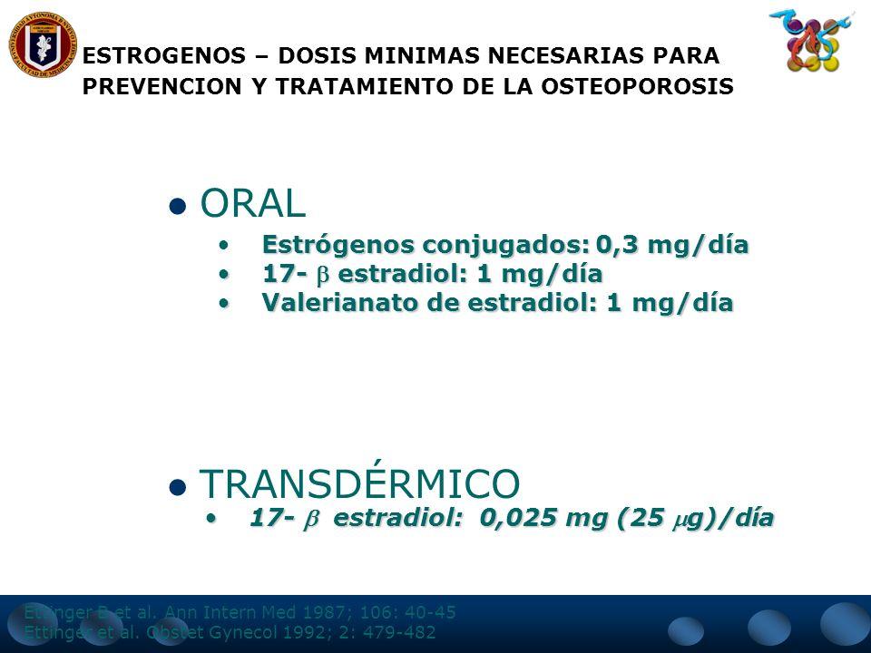 ORAL TRANSDÉRMICO Estrógenos conjugados: 0,3 mg/día