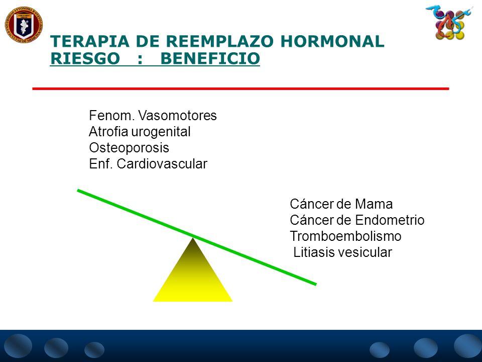 TERAPIA DE REEMPLAZO HORMONAL RIESGO : BENEFICIO