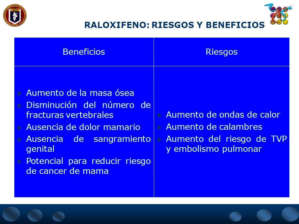 RALOXIFENO: RIESGOS Y BENEFICIOS